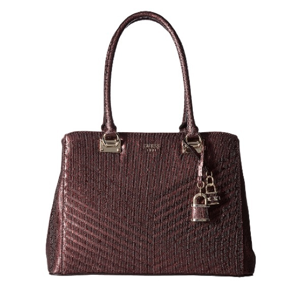 986e0ae65902 w TAG GUESS SATCHEL with Hardware embellishments